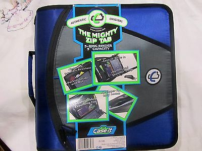 Authentic Original The Mighty Zip Tab 3 Ring Binder File CASE IT School Blue