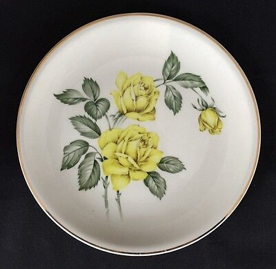 Vintage 1960s Golden Scepter Paden City Pottery Yellow Rose Salad Dessert Plates