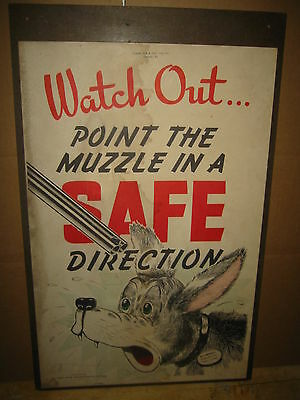 """National Rifle Association America 1946 Poster, POINT MUZZLE IN A SAFE 22x14"""""""