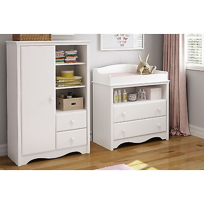 Baby Changing Table with Drawers and Armoire with Drawers- Nursery Furniture Set