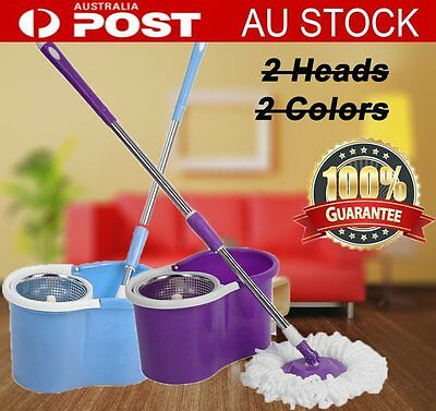 NEW 360° Spinning Stainless Steel Magic Spin Bucket Dry 2 Microfibre Mop Heads