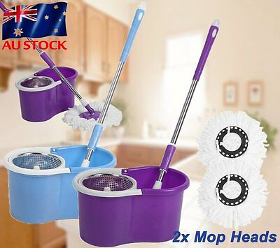2 head 360° Spin Mop Bucket Stainless Steel Magic Dry Microfibre Heads AU