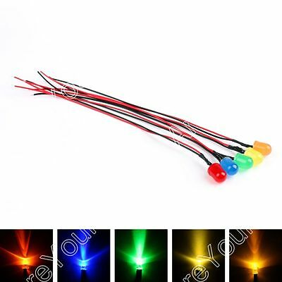 Pre-Wired LEDs 3/5/8/10mm Diffused 12V Various Colour Prewired Light Emitting US