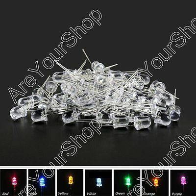 8mm/10mm LED Multi Colour Waterclear Ultrabright Light Emitting Diode Lamp US