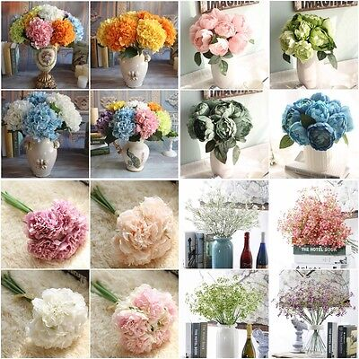 AU Artificial Floral Fake Silk Flowers Wedding Bridal Bouquet Home Garden Decor