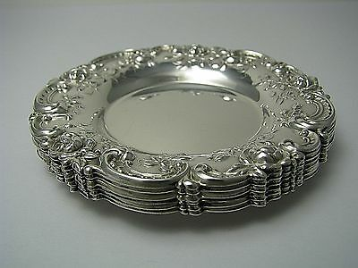 SET of 6 STERLING SILVER PLATES NUT DISHES SAUCERS Alvin Mfg.Co.1960s Excel Cond