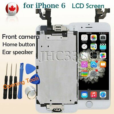 """For iPhone 6 4.7"""" LCD  Screen Full Replace Digitizer Camera Home Button White CA"""