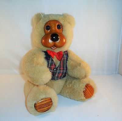 """Applause Robert Raikes 12"""" Wooden Faced Jointed Teddy Bear With Bow Tie And Vest"""