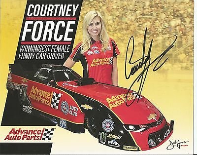 JOHN Force  COURTNEY Force BRITTANY Force NHRA Autographed  hero card  Photo