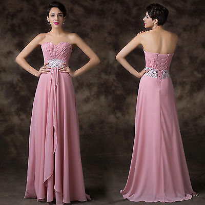BEADED Pageant Bridesmaid Dress Long Chiffon Party Prom Formal Evening Ball Gown