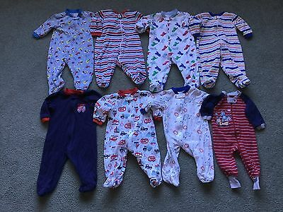 Baby Boy Sleepers Lot of 8 (Size 3-6 Months)