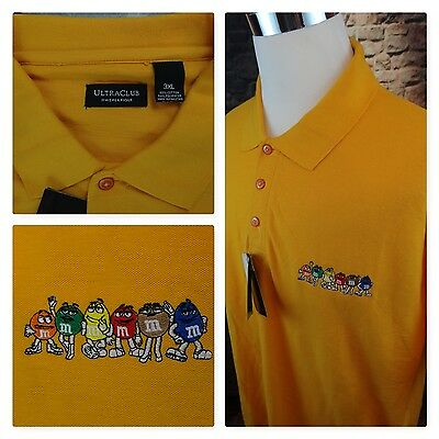 NEW M&M Mars Chocolate Candy Yellow Embroidered Characters Golf Polo Shirt 3XL