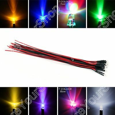 DC 12V 20cm 3mm/5mm/8mm/10mm Pre Wired Lamp Light Emitting Diode 9Colour US