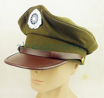 Wwii Chinese Kmt Officer Hat Cap Ww2 Military Peaked Cap Size Xl