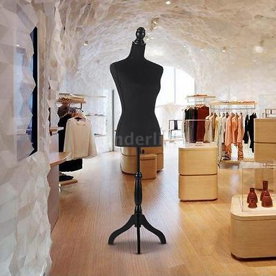 & Adjustable Female Mannequin Torso Dress Cloth Form Tripod Standing Black V0X2