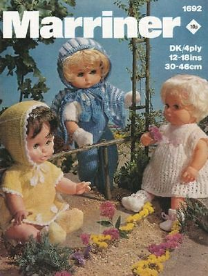 COPY_Vintage Knitting Pattern. Marriner 1692 12-18 inch Doll. 8 and 4 Ply Yarn.