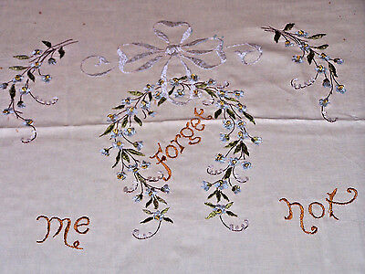 "Gorgeous Vintage ""society Silk"" Sampler, Pillow Top, ""forget Me Not"" 1920"