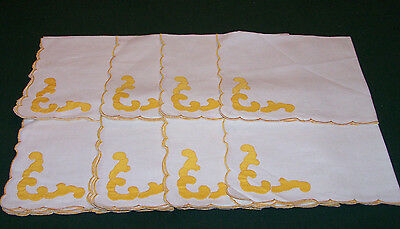 8 Vintage Linen Napkins With Hand Applique Design, Excellent Condition, 16""
