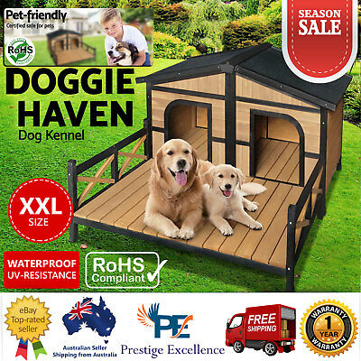Pet Dog Kennel Double Wooden Portable Timber House Large Patio - Dog Size XXL