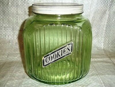 Antique HOOSIER GLASS COOKIE CANISTER JAR Green Ribbed Depression Glass Vintage