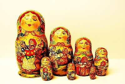 """Alkota Russian Authentic Collectible Nesting doll """"Russian Villagers"""", 8"""" Unique"""