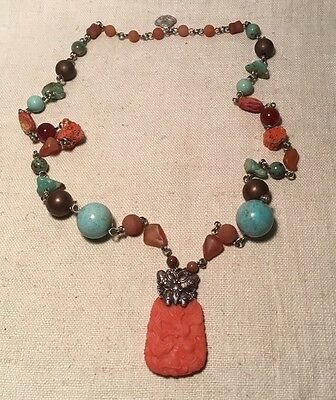 Stephen Dweck Rare Sterling Silver Turquoise Multi Gem Massive Necklace