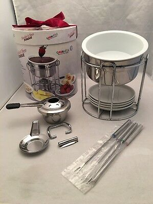 NOS Casamoda Chocolate & Cheese FONDUE 13  Piece Set With Stackable Components