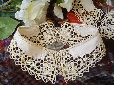 Hot Sale @ Beautiful Hand Flower Needle Lace Embroidery Cotton Collar Beige