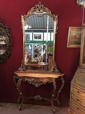 ~ Console Table with Mirror ~ Antique