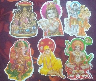 10 Indian Hindu God Stickers for Home Temple Prayers Worship Meditation Gift