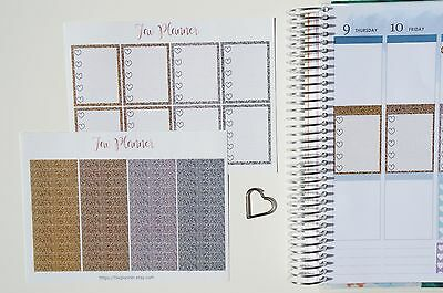 56 Gold&Silver FullBox and Headers stickers-  for Erin Condren Vertical Planner