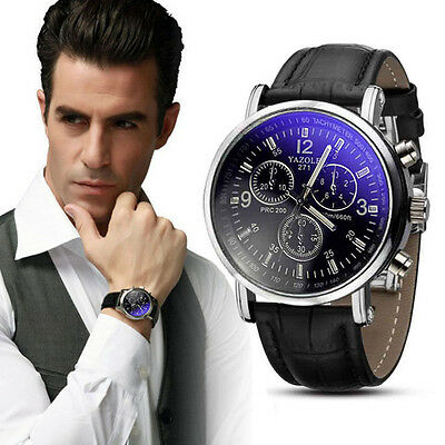 Luxury Men's Date Stainless Steel Quartz Leather Strap Band Wrist Watch Watches