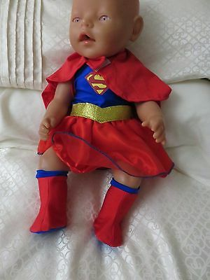 "clothes for 17"" baby born doll superwoman"