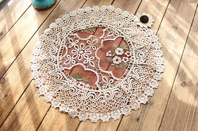 Pretty Pink Flower Embroidery Wine Red Wide Lace Sheer Doily 38CM