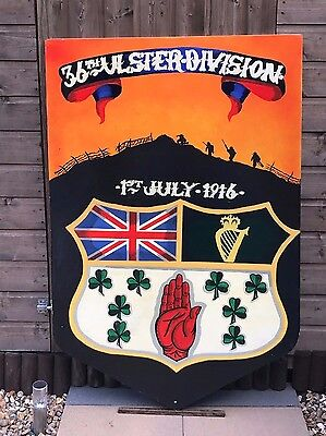 "Large Vintage 32"" x 48"" 36th Ulster Division, UVF Painted Plaque, Wall Hanging"