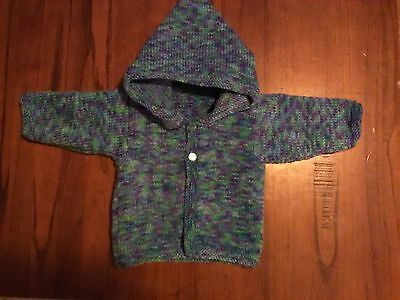 New Hand Knitted Baby Hooded Jacket 0 - 3 Months