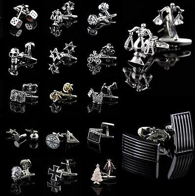 Lot Vintage Mens Stainless Steel Wedding Party Gift Silver Novelty Cufflinks