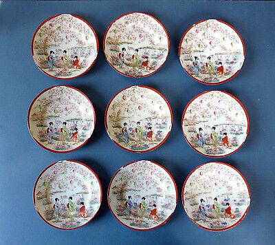 Set of 9 Vintage Japanese Geisha Ware Girl Porcelain Plates. 6in. Hand Painted