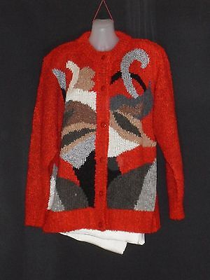 1990's Vintage Bulky Knit Crew Neck Cardigan with Abstract Pattern on Front.