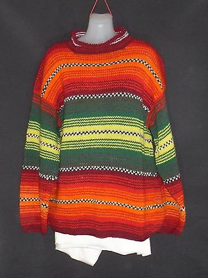 1990's Vintage South American Hand Knitted Striped Jumper.