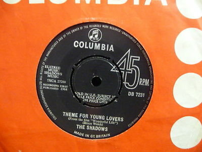 "THE SHADOWS "" THEME FOR YOUNG LOVERS   "" Or.UK COLUMBIA EX+ COND.IN Or.SL."