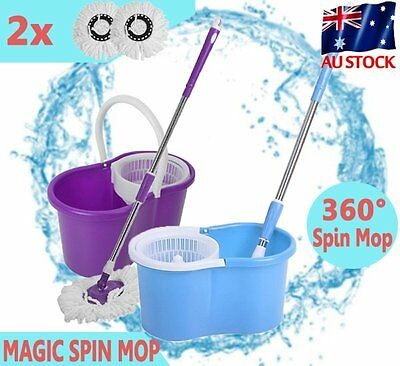 Spin Dry Bucket 2 Mop Heads 360 Degree Spin Rotating Magic Spin Floor Mop CA