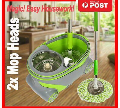 360° Spinning Rotating Floor Mop & Bucket Set + 2 Microfibre Cleaning Head CA