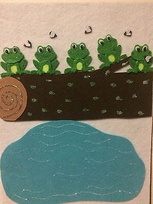 FELT BOARD STORY -  5 Green and Speckled Frogs
