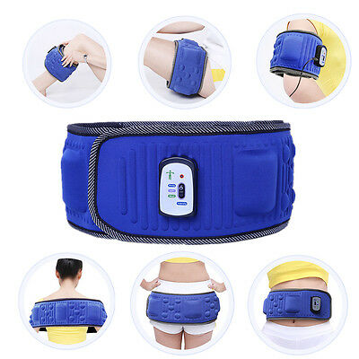 Blue Vibro Slimming Shape Toning Vibration Belt Tummy Body Weight Loss Massager