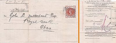 Gb : Lochaber District Assessments, Inverness-Shire Letter To Oban Bank (1894)