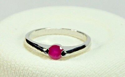 Natural Ruby Stone 925 Sterling Silver Solitaire 14k White Gold Finish Ring 7 US