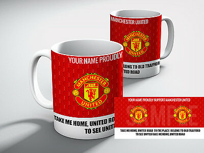 Personalised MANCHESTER UNITED Football PROUDLY SUPPORT MAN - UNITED Mug Gift