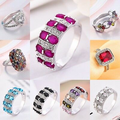 Ruby Amethyst Wedding Engagement Ring 925 Solid Silver White Gold Women Size6-10