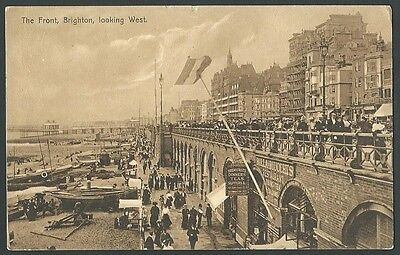 Brighton Sussex The Front Looking West Vintage Brighton Palace Printed Postcard